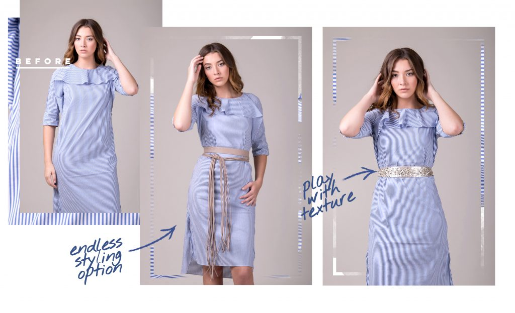 Before and After how to belt a dress with a Maya fringe belt and Naomi belt high on the waist