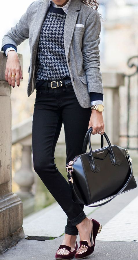 Work wear outfit | Belted jeans | Casual friday | Blazer | Black belt | Office style