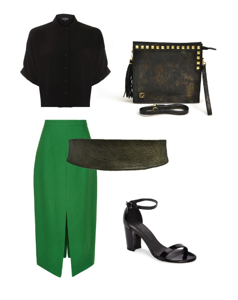 Workwear outfit | Women's Fashion Style | Genuine leather | Green belt | Outfit inspiration | Fashion | ADA Collection