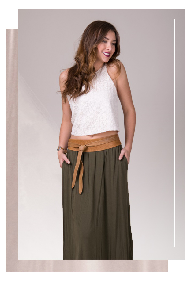 White top with a military green long skirt - Tan wrap belt